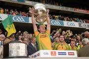 23 September 2012; Neil Gallagher, Donegal, lifts the Sam Maguire Cup. GAA Football All-Ireland Senior Championship Final, Donegal v Mayo, Croke Park, Dublin. Picture credit: Ray McManus / SPORTSFILE