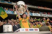23 September 2012; Mark McHugh, Donegal, lifts the Sam Maguire Cup. GAA Football All-Ireland Senior Championship Final, Donegal v Mayo, Croke Park, Dublin. Picture credit: Ray McManus / SPORTSFILE