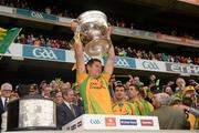 23 September 2012; Ryan Bradley, Donegal, lifts the Sam Maguire Cup. GAA Football All-Ireland Senior Championship Final, Donegal v Mayo, Croke Park, Dublin. Picture credit: Ray McManus / SPORTSFILE