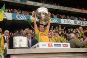 23 September 2012; Frank McGlynn, Donegal, lifts the Sam Maguire Cup. GAA Football All-Ireland Senior Championship Final, Donegal v Mayo, Croke Park, Dublin. Picture credit: Ray McManus / SPORTSFILE