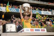 23 September 2012; Rory Kavanagh, Donegal, lifts the Sam Maguire Cup. GAA Football All-Ireland Senior Championship Final, Donegal v Mayo, Croke Park, Dublin. Picture credit: Ray McManus / SPORTSFILE