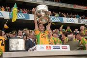 23 September 2012; Marty Boyle, Donegal, lifts the Sam Maguire Cup. GAA Football All-Ireland Senior Championship Final, Donegal v Mayo, Croke Park, Dublin. Picture credit: Ray McManus / SPORTSFILE