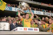 23 September 2012; Leo McLoone, Donegal, lifts the Sam Maguire Cup. GAA Football All-Ireland Senior Championship Final, Donegal v Mayo, Croke Park, Dublin. Picture credit: Ray McManus / SPORTSFILE