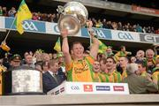 23 September 2012; Anthony Thompson, Donegal, lifts the Sam Maguire Cup. GAA Football All-Ireland Senior Championship Final, Donegal v Mayo, Croke Park, Dublin. Picture credit: Ray McManus / SPORTSFILE