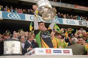 23 September 2012; Michael Boyle, Donegal, lifts the Sam Maguire Cup. GAA Football All-Ireland Senior Championship Final, Donegal v Mayo, Croke Park, Dublin. Picture credit: Ray McManus / SPORTSFILE