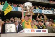 23 September 2012; Daniel McLoughlin, Donegal, lifts the Sam Maguire Cup. GAA Football All-Ireland Senior Championship Final, Donegal v Mayo, Croke Park, Dublin. Picture credit: Ray McManus / SPORTSFILE