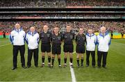 23 September 2012; Referee Maurice Deegan with fourth official Conor Lane, linesmen Eddie Kinsella, David Goldrick and his umpires before the game. GAA Football All-Ireland Senior Championship Final, Donegal v Mayo, Croke Park, Dublin. Picture credit: Ray McManus / SPORTSFILE