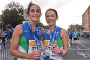 29 October 2017; Lisa McKeever, left, and Kathryn Rafferty of Armagh AC, celebrate after the SSE Airtricity Dublin Marathon 2017 in Dublin City. 20,000 runners took to the Fitzwilliam Square start line to participate in the 38th running of the SSE Airtricity Dublin Marathon, making it the fifth largest marathon in Europe. Photo by Sam Barnes/Sportsfile