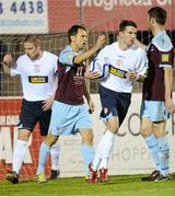 1 October 2012; Declan O'Brien, Drogheda United, celebrates with team-mate Gavin Brennan, right, after scoring his side's first goal from the penalty spot. Airtricity League Premier Division, Drogheda United v Shelbourne, Hunky Dory Park, Drogheda, Co. Louth. Picture credit: Paul Mohan / SPORTSFILE