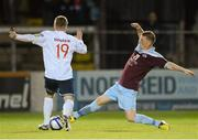 1 October 2012; Eric Foley, Drogheda United, in action against Philip Gorman, Shelbourne. Airtricity League Premier Division, Drogheda United v Shelbourne, Hunky Dory Park, Drogheda, Co. Louth. Picture credit: Paul Mohan / SPORTSFILE