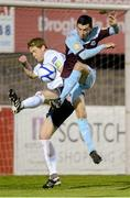 1 October 2012; Ryan Brennan, Drogheda United, in action against Stephen Paisley, Shelbourne. Airtricity League Premier Division, Drogheda United v Shelbourne, Hunky Dory Park, Drogheda, Co. Louth. Picture credit: Paul Mohan / SPORTSFILE