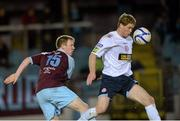 1 October 2012; Stephen Paisley, Shelbourne, in action against Peter Hynes, Drogheda United. Airtricity League Premier Division, Drogheda United v Shelbourne, Hunky Dory Park, Drogheda, Co. Louth. Picture credit: Paul Mohan / SPORTSFILE