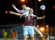 1 October 2012; Alan Byrne, Drogheda United, in action against Phillip Gorman, Shelbourne. Airtricity League Premier Division, Drogheda United v Shelbourne, Hunky Dory Park, Drogheda, Co. Louth. Picture credit: Paul Mohan / SPORTSFILE
