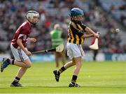 30 September 2012; Stephen Donnelly, Thomastown, Kilkenny, in action against Kevin Wilde, Turloughmore, Galway, during the INTO/RESPECT Exhibition GoGames at the GAA Hurling All-Ireland Senior Championship Final Replay between Kilkenny and Galway. Croke Park, Dublin. Picture credit: Ray McManus / SPORTSFILE