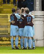 1 October 2012; Ryan Brennan, Drogheda United, is congratulated by team-mates after scoring his side's second goal. Airtricity League Premier Division, Drogheda United v Shelbourne, Hunky Dory Park, Drogheda, Co. Louth. Picture credit: Paul Mohan / SPORTSFILE