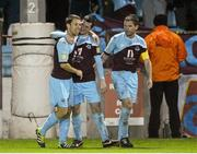 1 October 2012; Ryan Brennan, Drogheda United, is congratulated by team-mates Declan O'Brien, left, and Paul Crowley, right, after scoring his side's second goal. Airtricity League Premier Division, Drogheda United v Shelbourne, Hunky Dory Park, Drogheda, Co. Louth. Picture credit: Paul Mohan / SPORTSFILE