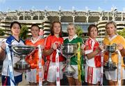 2 October 2012; Ahead of the TG4 Ladies Football All-Ireland Finals taking place this Sunday in Croke Park, representatives from the competing counties met in Croke Park. Pictured are, from left, Michelle McGrath, Waterford, Mags McAlinden, Armagh, Rena Buckley, Cork, Bernie Breen, Kerry, Aine McGee, Louth, and Aine Tubridy, Antrim. The finals on the 7th of October mark the first time that TG4 will broadcast a live match in HD. 2012 TG4 All-Ireland Ladies Football Final Captain's Day, Croke Park, Dublin. Picture credit: Brian Lawless / SPORTSFILE