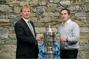 3 October 2012; In attendance at the 2012 Ford FAI Cup Semi-Finals Media Day are St. Patrick's Athletic manager Liam Buckley, left, and Dundalk manager Darius Kierans. Ely Place, Dublin. Picture credit: David Maher / SPORTSFILE