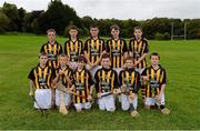 30 September 2012; Representing Kilkenny in the INTO/RESPECT Exhibition GoGames at the GAA Hurling All-Ireland Senior Championship Final between Kilkenny and Galway are, back row, left to right, Ciaran Doyle, Clara, Co. Offaly, Robbie McCauley, Dunnamaggin, Co. Kilkenny, Eoin Murphy, Naomh Moninne, Co. Louth, Barry Rodgers, Fingallians, Co. Dublin, Peter Wright, St. Finian's, Co. Dublin, front row, from left, Jack Murphy, Thomastown, Co. Kilkenny, Stephen Donnelly, Thomastown, Co. Kilkenny, Ryan O'Malley, Fingallians, Co. Dublin, Conall Devlin, Eoghan Ruadh, Co. Tyrone, Jason Devereux, Ballyhale, Co. Kilkenny, Daniel Comerford, St Martin's Muckalee, Kilkenny. Clonliffe College, Dublin. Picture credit: Daire Brennan / SPORTSFILE