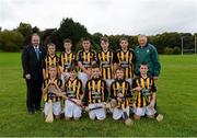 30 September 2012; Representing Kilkenny in the INTO/RESPECT Exhibition GoGames at the GAA Hurling All-Ireland Senior Championship Final between Kilkenny and Galway are, back row, left to right, Uachtarán Chumann Lúthchleas Gael Liam Ó Néill, Ciaran Doyle, Clara, Co. Offaly, Robbie McCauley, Dunnamaggin, Co. Kilkenny, Eoin Murphy, Naomh Moninne, Co. Louth, Barry Rodgers, Fingallians, Co. Dublin, Peter Wright, St. Finian's, Co. Dublin, Pat Monaghan, coach, front row, from left, Jack Murphy, Thomastown, Co. Kilkenny, Stephen Donnelly, Thomastown, Co. Kilkenny, Ryan O'Malley, Fingallians, Co. Dublin, Conall Devlin, Eoghan Ruadh, Co. Tyrone, Jason Devereux, Ballyhale, Co. Kilkenny, Daniel Comerford, St Martin's Muckalee, Co. Kilkenny. Clonliffe College, Dublin. Picture credit: Daire Brennan / SPORTSFILE
