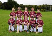 30 September 2012; Representing Galway in the INTO/RESPECT Exhibition GoGames at the GAA Hurling All-Ireland Senior Championship Final between Kilkenny and Galway are, back row, left to right, Evan Kelly, Maigh Cuilinn, Co. Galway, Kevin Wilde, Turloughmore, Co. Galway, Darragh Wilde, Turloughmore, Co. Galway, Gearóid O'Connor, Moyne, Templetouhy, Co. Tipperary, Ryan Ó Naraigh, Moorefield, Co. Kildare, front row, from left, Liam Mac Pháidín, Ballyboden St. Endas, Co. Dublin, Colm Harrington, Newport, Co. Tipperary, Jonathan Ryan, Arravale Rovers, Co. Tipperary, Robert Meehan, Ballinderren, Co Galway, Alan Haverty, St Mary's Athenry, Co. Galway. Clonliffe College, Dublin. Picture credit: Daire Brennan / SPORTSFILE