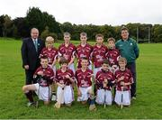 30 September 2012; Representing Galway in the INTO/RESPECT Exhibition GoGames at the GAA Hurling All-Ireland Senior Championship Final between Kilkenny and Galway are, back row, left to right, Uachtarán Chumann Lúthchleas Gael Liam Ó Néill, Evan Kelly, Maigh Cuilinn, Co. Galway, Kevin Wilde, Turloughmore, Co. Galway, Darragh Wilde, Turloughmore, Co. Galway, Gearóid O'Connor, Moyne, Templetouhy, Co. Tipperary, Ryan Ó Naraigh, Moorefield, Co. Kildare, Eugene Fitzgibbon, coach, front row, from left, Liam Mac Pháidín, Ballyboden St. Endas, Co. Dublin, Colm Harrington, Newport, Co. Tipperary, Jonathan Ryan, Arravale Rovers, Co. Tipperary, Robert Meehan, Ballinderren, Co Galway, Alan Haverty, St Mary's Athenry, Co. Galway. Clonliffe College, Dublin. Picture credit: Daire Brennan / SPORTSFILE