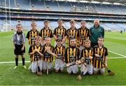 30 September 2012; Representing Kilkenny in the INTO/RESPECT Exhibition GoGames at the GAA Hurling All-Ireland Senior Championship Final between Kilkenny and Galway are, back row, left to right, referee Chad Brennan, Trinity Gaels, Co. Dublin, Ciaran Doyle, Clara, Co. Offaly, Robbie McCauley, Dunnamaggin, Co. Kilkenny, Eoin Murphy, Naomh Moninne, Co. Louth, Barry Rodgers, Fingallians, Co. Dublin, Peter Wright, St. Finian's, Co. Dublin, Pat Monaghan, coach, front row, from left, Jack Murphy, Thomastown, Co. Kilkenny, Stephen Donnelly, Thomastown, Co. Kilkenny, Ryan O'Malley, Fingallians, Co. Dublin, Conall Devlin, Eoghan Ruadh, Co. Tyrone, Jason Devereux, Ballyhale, Co. Kilkenny, Daniel Comerford, St Martin's Muckalee, Co. Kilkenny. Croke Park, Dublin. Picture credit: Daire Brennan / SPORTSFILE