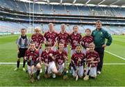 30 September 2012; Representing Galway in the INTO/RESPECT Exhibition GoGames at the GAA Hurling All-Ireland Senior Championship Final between Kilkenny and Galway are, back row, left to right, referee Chad Brennan, Trinity Gaels, Co. Dublin, Evan Kelly, Maigh Cuilinn, Co. Galway, Kevin Wilde, Turloughmore, Co. Galway, Darragh Wilde, Turloughmore, Co. Galway, Gearóid O'Connor, Moyne, Templetouhy, Co. Tipperary, Ryan Ó Naraigh, Moorefield, Co. Kildare, Eugene Fitzgibbon, coach, front row, from left, Liam Mac Pháidín, Ballyboden St. Endas, Co. Dublin, Colm Harrington, Newport, Co. Tipperary, Jonathan Ryan, Arravale Rovers, Co. Tipperary, Robert Meehan, Ballinderren, Co Galway, Alan Haverty, St Mary's Athenry, Co. Galway. Croke Park, Dublin. Picture credit: Daire Brennan / SPORTSFILE