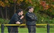 6 October 2012; Young Munster assistant forwards coach Denis Leamy, left, and assistant backs coach Gearoid Prendergast during the game. Ulster Bank League Division 1A, Young Munster v St.  Mary's College. Picture credit: Diarmuid Greene / SPORTSFILE