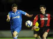 6 October 2012; Cian Colllins, Limerck FC, in action against Keith Gillespie, Longford Town. Airtricity League First Division, Longford Town v Limerick FC, Flancare Park, Co. Longford. Picture credit: David Maher / SPORTSFILE