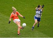 7 October 2012; Kelly Mallon, Armagh, in action against Aoife Landers, Waterford. TG4 All-Ireland Ladies Football Intermediate Championship Final, Armagh v Waterford, Croke Park, Dublin. Picture credit: Stephen McCarthy / SPORTSFILE