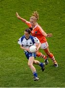 7 October 2012; Nora Dunphy, Waterford, in action against Marian McGuinness, Armagh. TG4 All-Ireland Ladies Football Intermediate Championship Final, Armagh v Waterford, Croke Park, Dublin. Picture credit: Stephen McCarthy / SPORTSFILE