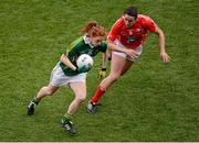 7 October 2012; Louise Ní Mhuircheartaigh, Kerry, in action against Norita Kelly, Cork.  TG4 All-Ireland Ladies Football Senior Championship Final, Cork v Kerry, Croke Park, Dublin. Picture credit: Stephen McCarthy / SPORTSFILE