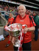 7 October 2012; Cork manager Eamonn Ryan with the Brendan Martin Cup. TG4 All-Ireland Ladies Football Senior Championship Final, Cork v Kerry, Croke Park, Dublin. Picture credit: Ray McManus / SPORTSFILE
