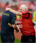 7 October 2012; The Cork manager, Eamonn Ryan, right, and the Kerry manager, William O'Sullivan, shake hands after the game. TG4 All-Ireland Ladies Football Senior Championship Final, Cork v Kerry, Croke Park, Dublin. Picture credit: Ray McManus / SPORTSFILE