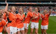 7 October 2012; Armagh players, from left, Marian McGuinness, Sharon Reel, Shauna O'Hagan, Caroline O'Hanlon and Laura Brown, celebrate after the game. TG4 All-Ireland Ladies Football Intermediate Championship Final, Armagh v Waterford, Croke Park, Dublin. Picture credit: Brendan Moran / SPORTSFILE