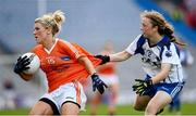7 October 2012; Kelly Mallon, Armagh, in action against Aoife Landers, Waterford. TG4 All-Ireland Ladies Football Intermediate Championship Final, Armagh v Waterford, Croke Park, Dublin. Picture credit: Ray McManus / SPORTSFILE