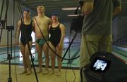 """6 January 2003; An television advertisement for the """"support an athlete"""" programme for the 2003 Special Olympics World Games was shot on location in the ESB Sportsco Pool in Ringsend, Dublin. Special Olympic athletes, from left, Maeve Phillips, Kevin O'Connor and Laura Jane Dunne is pictured during the filming of the advert. 2003SOWG. Picture credit; Brendan Moran / SPORTSFILE *EDI*"""