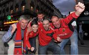 12 October 2012; Munster supporters, from left to right, Denis Corkery, from Nenagh, Co. Tipperary, Elaine Kelly, Michael O'Riordan, Brian Kelly, from Raheen, Limerick, and Jerry Keating, from Pallaskenry, Co. Limerick, in Paris ahead of Munster's Heineken Cup 2012/13, Pool 1, Round 1, match against Racing Metro 92 on Saturday. Boulevard Montmartre, Paris. Picture credit: Diarmuid Greene / SPORTSFILE