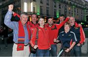 12 October 2012; Munster supporters from left to right, Denis Corkery from Nenagh, Co. Tipperary, Jerry Keating from Pallaskenry, Co. Limerick, Elaine Kelly, Brian Kelly, Michael O'Riordan, from Raheen, Limerick, Liz Butler and Niall Butler from Limerick, in Paris ahead of Munster's Heineken Cup 2012/13, Pool 1, Round 1, match against Racing Metro 92 on Saturday. Boulevard Montmartre, Paris. Picture credit: Diarmuid Greene / SPORTSFILE