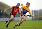 14 October 2012; Lee Chin, Faythe Harriers, in action against Darren Stamp, Oulart-the-Ballagh. Wexford County Senior Hurling Championship Final, Oulart-the-Ballagh v Faythe Harriers, Wexford Park, Wexford. Picture credit: Paul Mohan / SPORTSFILE