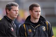 14 October 2012; Crossmaglen Rangers joint managers Gareth O'Neill and Tony McEntee. Armagh County Senior Football Championship Final, Crossmaglen Rangers v Pearse Og, Morgan Athletic Grounds, Armagh. Picture credit: Oliver McVeigh / SPORTSFILE