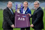 """15 October 2012; AIB are celebrating 21 years of sponsoring the GAA Club Championships at today's launch. AIB has also announced a renewal of their sponsorship of the Club Championships for a further five years. Among those in attendance at the launch were All Ireland club finalists Ollie Canning who captained Portuma to Club Championship success in 2008 & 2009, Colm """"Gooch"""" Cooper and Seanie O'Shea, who captained his team Dr Crokes to win the AIB GAA Club Championships in 1992, John McEntee who captained Crossmaglen Rangers in 1999 along with Oisin McConville, five time all Ireland club winner with the Armagh club and Kilkenny captain and James Stephens hurler Eoin Larkin. Pictured are, from left, Liam Ó Néill, Uachtarán, Chumann Lúthchleas Gael, Ollie Canning, Portumna, Galway, and Bernard Byrne, Director, Personal, Business and Corporate Banking, AIB. Croke Park, Dublin. Picture credit: Brendan Moran / SPORTSFILE"""
