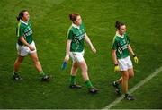 7 October 2012; Kerry players, from left, Deirdre Corrida, Megan O'Connell and Louise Galvin during the pre-match parade. TG4 All-Ireland Ladies Football Senior Championship Final, Cork v Kerry, Croke Park, Dublin. Picture credit: Stephen McCarthy / SPORTSFILE
