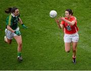 7 October 2012; Norita Kelly, Cork, in action against Caroline Kelly, Kerry. TG4 All-Ireland Ladies Football Senior Championship Final, Cork v Kerry, Croke Park, Dublin. Picture credit: Stephen McCarthy / SPORTSFILE