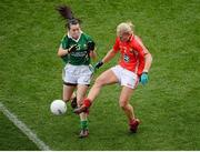 7 October 2012; Deirdre O'Reilly, Cork, in action against Sarah Houlihan, Kerry. TG4 All-Ireland Ladies Football Senior Championship Final, Cork v Kerry, Croke Park, Dublin. Picture credit: Stephen McCarthy / SPORTSFILE