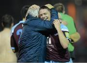 19 October 2012; Brian Gannon, Drogheda United, celebrates with manager Mick Cooke after the game. Airtricity League Premier Division, Drogheda United v Sligo Rovers, Hunky Dory Park, Drogheda, Co. Louth. Picture credit: Paul Mohan / SPORTSFILE