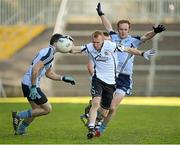 21 October 2012; Niall McEvoy, Kilcoo, in action against Keith Quinn and Benny Coulter, Mayobridge. Down County Senior Football Championship Final, Mayobridge v Kilcoo, Pairc Esler, Newry, Co. Down. Picture credit: Oliver McVeigh / SPORTSFILE
