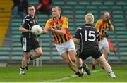 21 October 2012; Jason Stokes, Dromcollogher Broadford, in action against James Kelly, Newcastlewest. Limerick County Senior Football Championship Final, Dromcollogher Broadford v Newcastlewest, Gaelic Grounds, Limerick. Picture credit: Diarmuid Greene / SPORTSFILE