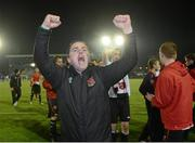 2 November 2012; Dundalk manager Darius Kierans celebrates after the final whistle. Airtricity League Promotion / Relegation Play-Off Final, 2nd Leg, Waterford United v Dundalk, RSC, Waterford. Picture credit: Matt Browne / SPORTSFILE
